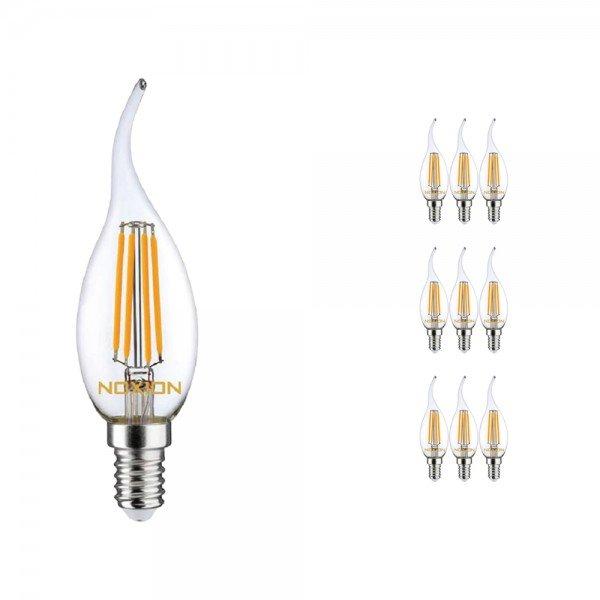 Voordeelpak 10x Noxion Lucent Filament LED Kaars 4.5W 827 BA35 E14 Helder   Dimbaar - Zeer Warm Wit - Vervangt 40W